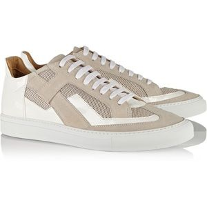 MM6 White Patent Beige Suede Mesh Sneaker